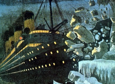 Artist's impression of the Titanic striking the iceberg on 15 April 1912 - the new RTÉ drama doc will focus on the workers below-deck.