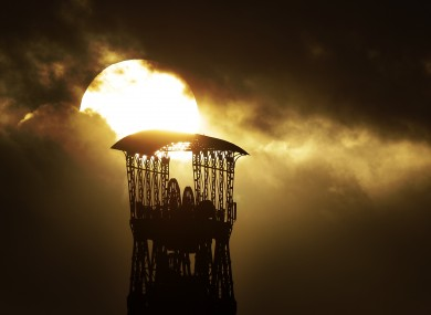 An old coal mine tower against the winter sun in Moers, Germany today