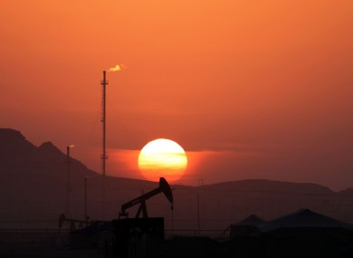 Oil pumps at work in the Iranian desert