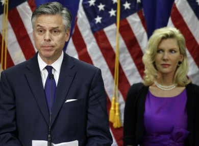 Jon Huntsman, accompanied by his wife Mary Kaye, announces he is ending his campaign.
