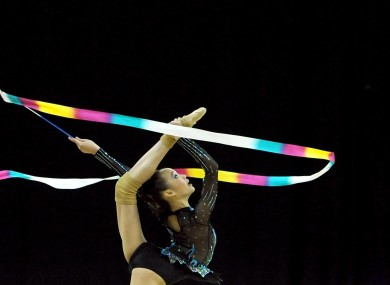 Malaysia's Wong Poh San performs with the Ribbon during the Visa International Gymnastics at the North Greenwich Arena, London yesterday.