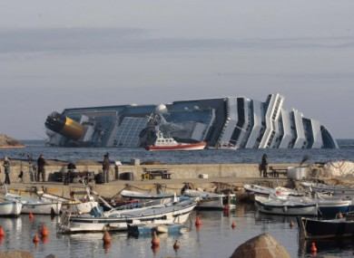 The Costa Concordia lying off the Tuscan coast of Italy.