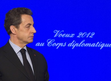 France's President Nicolas Sarkozy attends a ceremony to present New Year wishes to the foreign diplomatic corps at the Elysee Palace in Paris, Friday, Jan. 20, 2012.