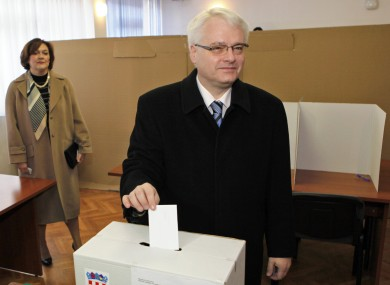 Croatia's president Ivo Josipovic casts his ballot at a polling station in Zagreb, Croatia today.