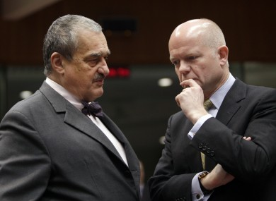 British Foreign Minister William Hague (right) and Czech Republic's Foreign Minister Karel Schwarzenberg at the meeting of EU foreign ministers in Brussels this morning