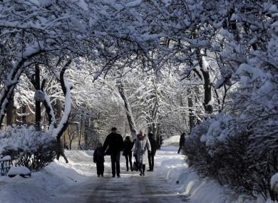People walk under snow covered trees on a street in Kiev, Ukraine