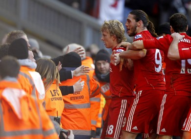 Dirk Kuyt celebrates his winner