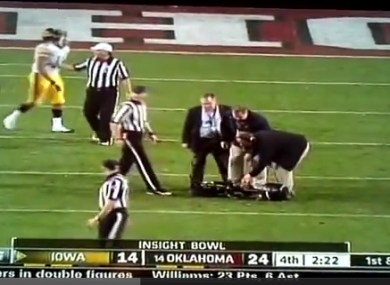 Officials had to remove the camera from the field after it fell from the stadium.