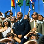 Crowds gathered for the Kennedy Space Centre launch include former US President Lyndon B Johnson. (NASA)