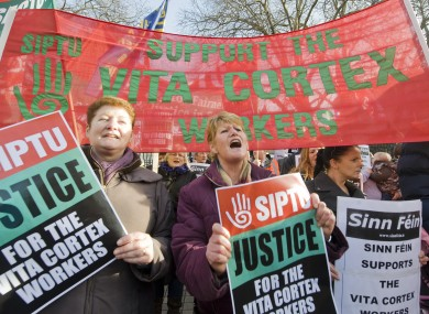 Supporters of the Vita Cortex workers at a rally in Dublin last weekend