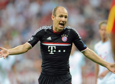 File Photo, Arjen Robben complains during Champions League match against FC Zurich