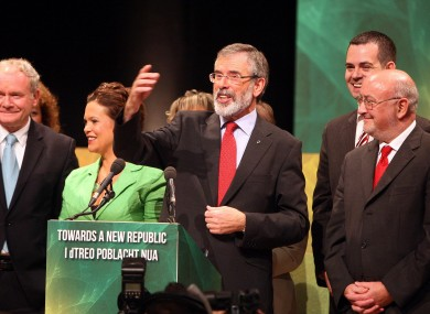 Sinn Féin leader Gerry Adams with parliamentary party colleagues and Martin McGuinnes in Belfast last September.