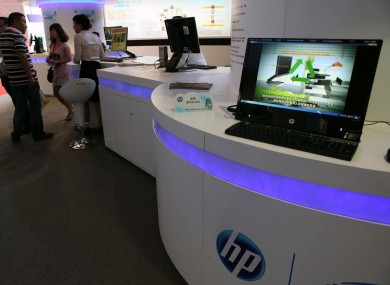 Visitors at a HP stand during a trade fair