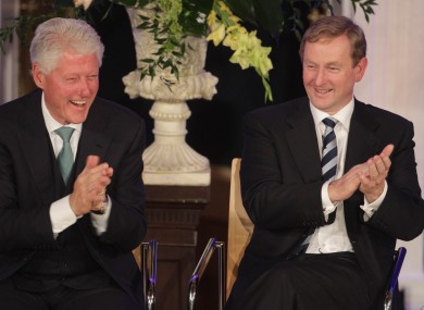 Bill Clinton and Enda Kenny have a laugh.