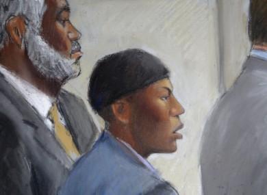 File courtroom drawing of Umar Farouk Abdulmutallab, centre.