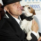 Uggie and trainer Omar Von Muller at a film screening in London last month. (AP Photo/Joel Ryan/PA Images)