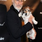 The Artist co-stars James Cromwell and Uggie during The Weinstein Company Golden Globes after-party. (LuMar Jr/UK Press/PA Images)