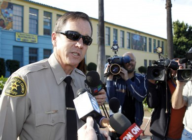 Los Angeles county Sheriff John Babbitt talks to the media outside the Miramonte Elementary School