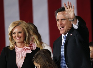 Mitt Romney greets supporters with his wife Ann at his Nevada caucus night victory celebration party in Las Vegas.