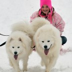 Georgia, 13, from Ingatestone, Essex, exercises her pet Samoyeds Polar (left) and Bear, after heavy overnight snowfall. (Ian Nicholson/PA Images)