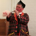 The Revd Roly Bain ('Clown Roly' and Hon Curate and Clown's Chaplain), wearing full costume during a service in memory of celebrated clown Joseph Grimaldi yesterday in Dalston. (Yui Mok/PA Wire)