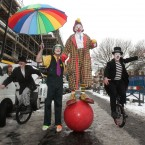 Clowns arrive at the Holy Trinity Church for this year's Grimaldi Day service. (Yui Mok/PA Wire)