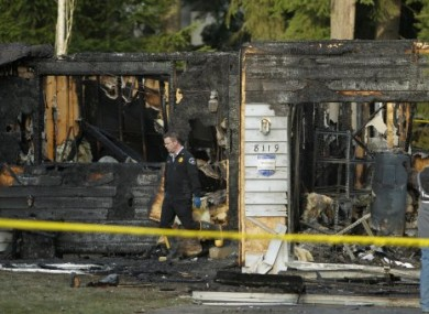 Josh Powell's devastated home near Fredrickson, Washington.