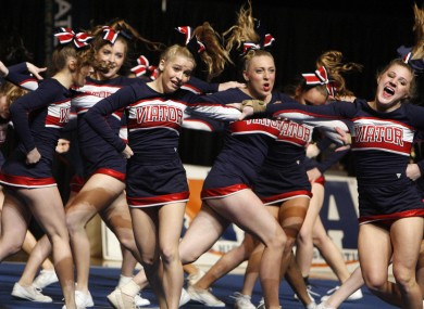 The St Viator high school team competes in the Illinois state cheerleading finals in Bloomington
