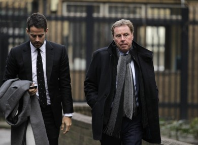 Harry Redknapp arrives at Southward Crown Court with son, Jamie, today.
