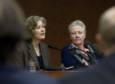 Sheila Hollins, left, speaks at the conference with abuse victim Marie Collins