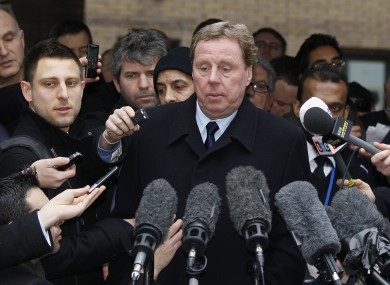 Harry Redknapp makes a statement to media outside Southwark Crown Court in London.