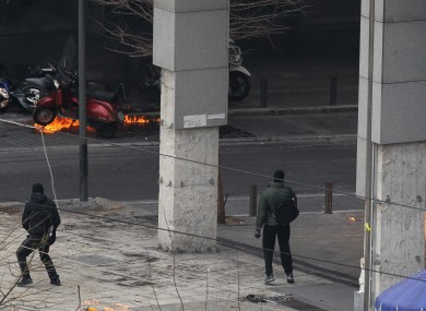 Petrol bombs explode outside the Finance Ministry in Athens