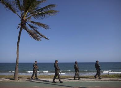 Brazilian soldiers patrol in the Bahian capital Salvador.