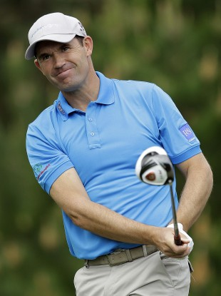Harrington in action at the AT&T Pebble Beach National Pro-Am yesterday.