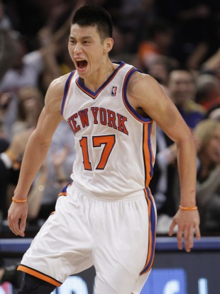 Jeremy Lin celebrates during a recent NBA game