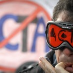 A protester whistles during today's demonstrations in Bulgaria's capital. (AP Photo/Valentina Petrova/PA Images)