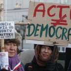 Anti-ACTA activists gathered in Warsaw, Poland today.  (AP Photo/Czarek Sokolowski/PA Images)