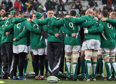 The Irish team at the Stade de France on Saturday night.