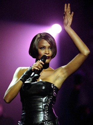 Whitney Houston performing at the Brit Awards in February 1999.