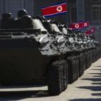 North Korean military vehicles are lined up at Kumsusan Memorial Palace in Pyongyang. (AP Photo/David Guttenfelder/PA Images)