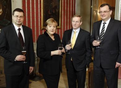Taoiseach Enda Kenny with Latvian PM Valdis Dombrovskis, Angela Merkel, and Czech PM Petr Necas