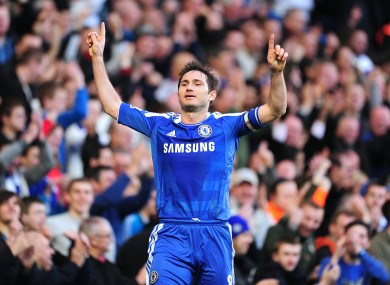 Lampard celebrates a landmark goal