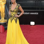 Nancy O'Dell was the first on the red carpet on the night. Designer unknown.