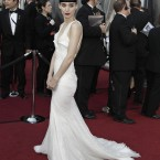 Rooney Mara in white. In other words, Rooney Mara was not wearing black. She said she only picked the Givenchy dress this morning. 