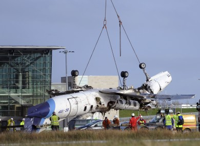 The remains of the Manx2 flight that crashed on landing at Cork airport last year