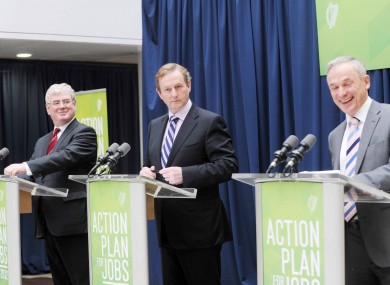 Tánaiste Eamon Gilmore, Taoiseach Enda Kenny and Jobs Minister Richard Bruton making their announcement yesterday