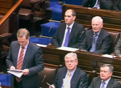 Screenshot of Enda Kenny and Eamon Gilmore making the announcement in the Dáil this afternoon.
