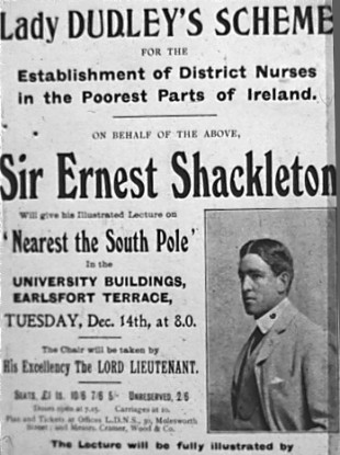 Notice advertising Ernest Shackleton's visit to Dublin in December 1909
