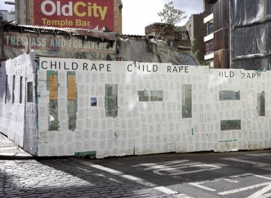 The Cloyne report covers a hoarding in Temple Bar, Dublin