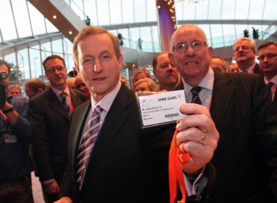 Enda Kenny collects his pass tonight for the Fine Gael Ard Fheis